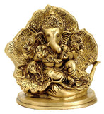 Ganesha Sitting on a Leaf Throne - Brass Statue