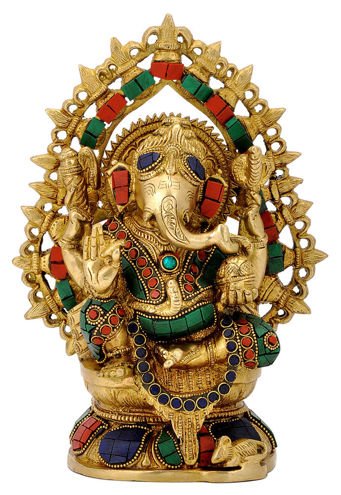 Brass Ganesha Figurine with Stones