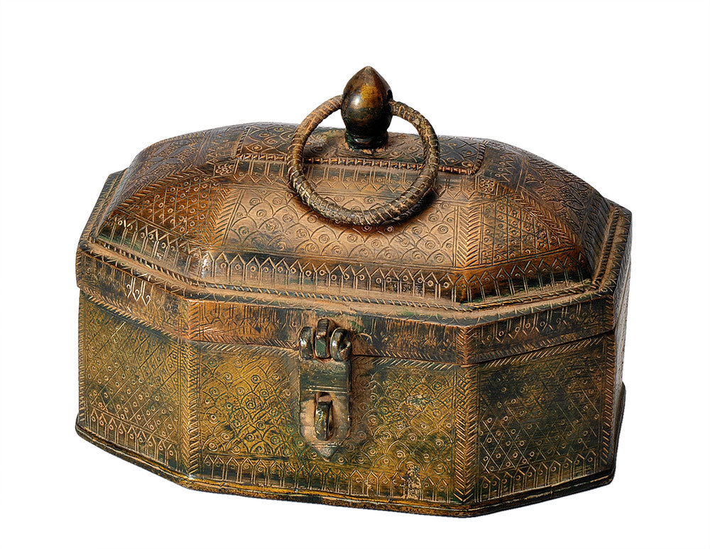 Old Finish Engraved Decorative Treasure Box  Tikamgarh Craft