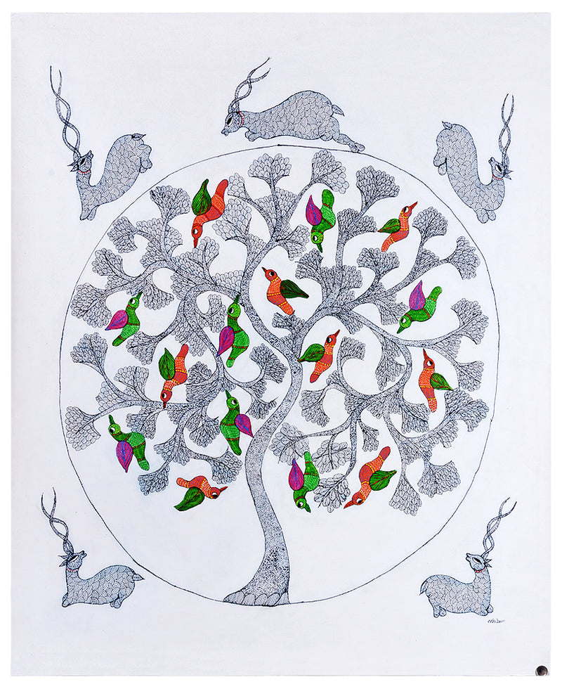 Tree of Joy - Gond Painting on Canvas