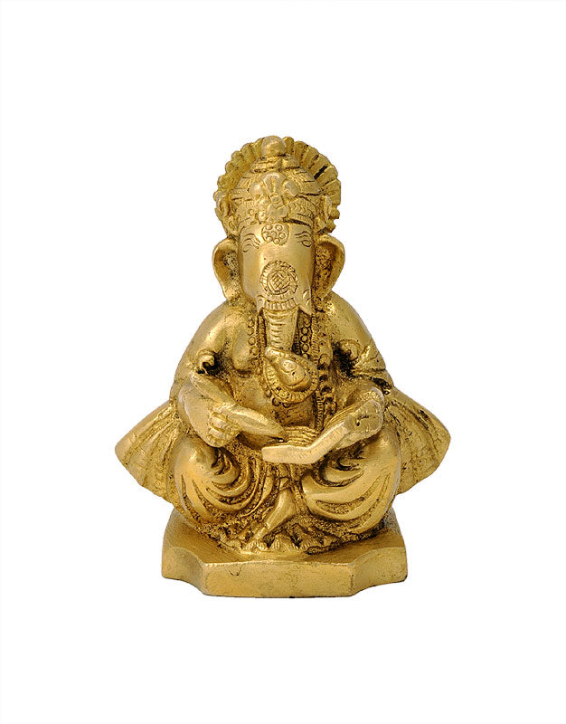 Lord Ganesha Write Mahabharata Brass Sculpture 4""