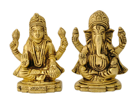 Miniature Pair of Brass Ganesha & Laxmi Figurine