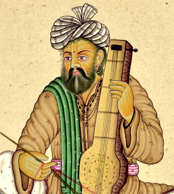 "Sarangi Player - Miniature Painting 8.50""H"
