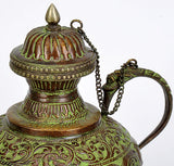 Decorative Kettle with Floral Carving - Brass Craft