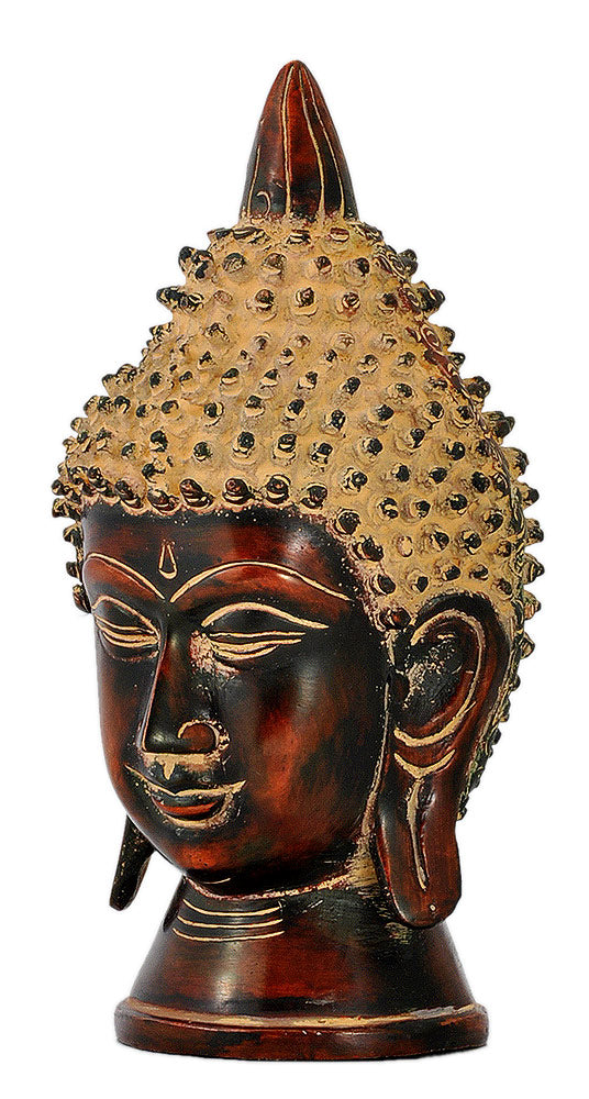 Serene Buddha - Antique Finish Brass Sculpture