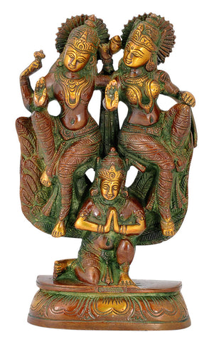 Lord Lakshmi Narain Seated on Garuda - Brass Statue 8""