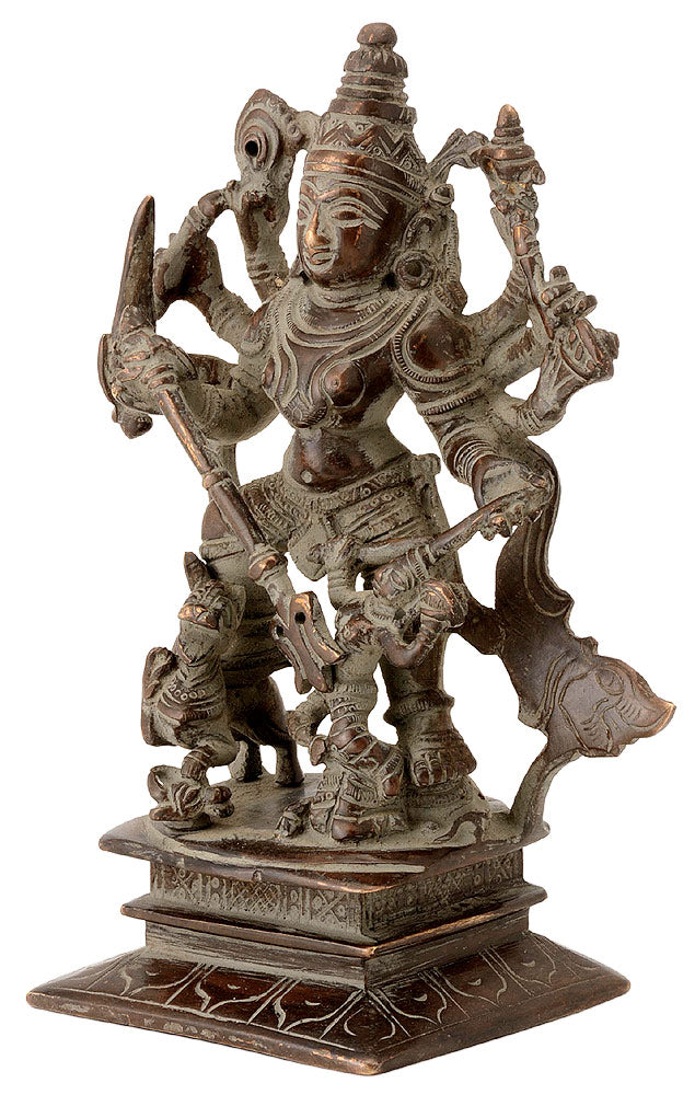 Antiquated Brass Durga as Devi Mahishasur Mardini