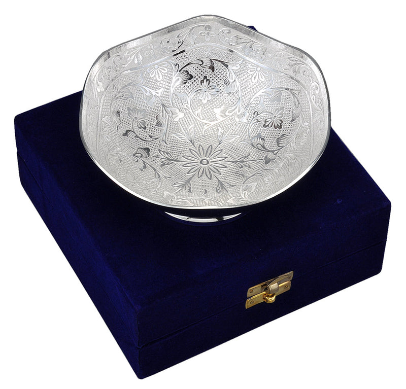 Silver Plated Metal Bowl with Velvet Box Packing
