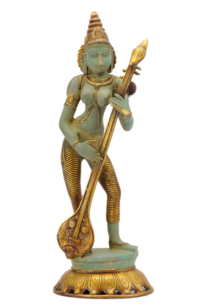 Brass Goddess Saraswati - Rustic Bronze Finish Sculpture