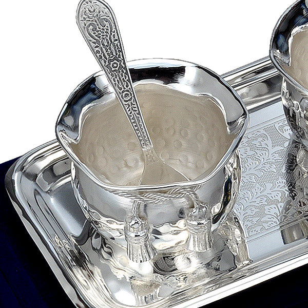 Silver Plated Dessert Bowl Set with Tray