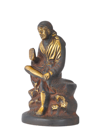 Lord Sai Baba - Antiquated Brass Statuette 6.5""