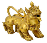 Chinese Feng Shui Lion Pair in Brass