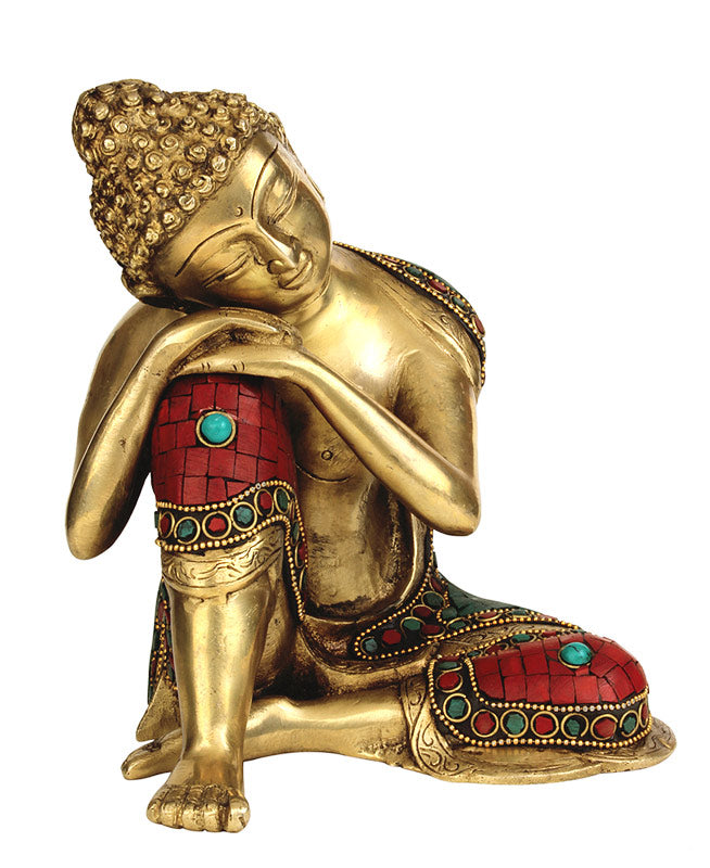 Relaxing Buddha Brass Sculpture