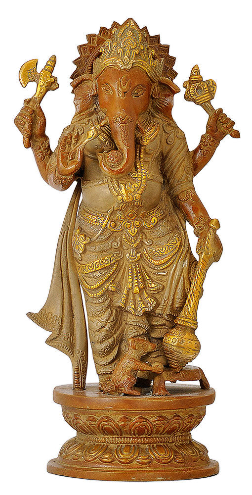 Exclusive Brass Standing Ganesha with Mooshika