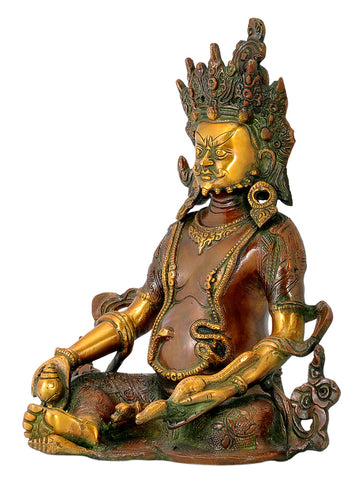 Seated Lord Kuber Brass Idol 10""