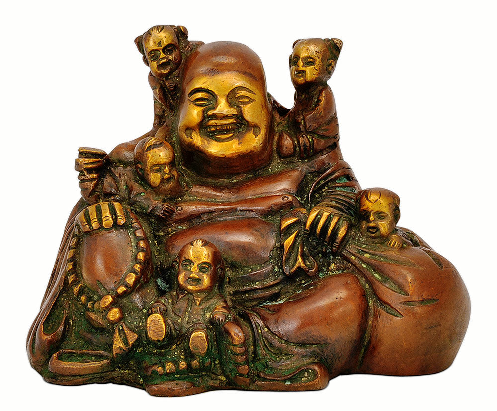 Laughing Buddha Playing with Five Childrens