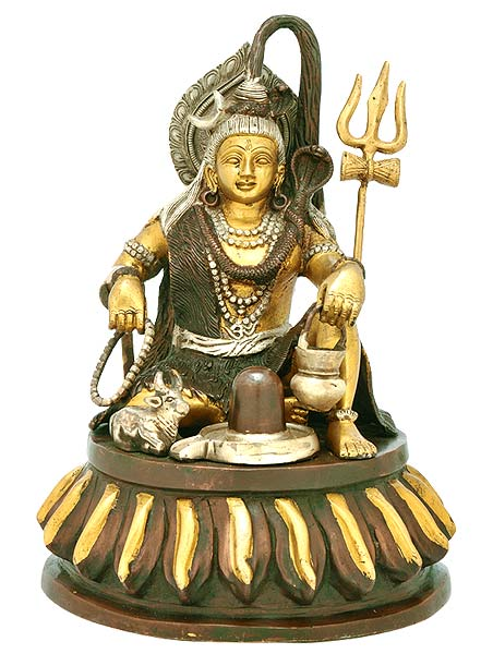 Lord Shiv Shankar Mahadev - Brass Sculpture 12""