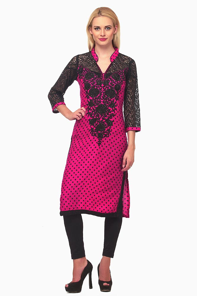 Fuchsia Kurta with Black Net 3/4th Sleeves