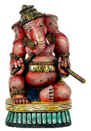 Ganesha with Dandia Sticks - Wood Carving 12""