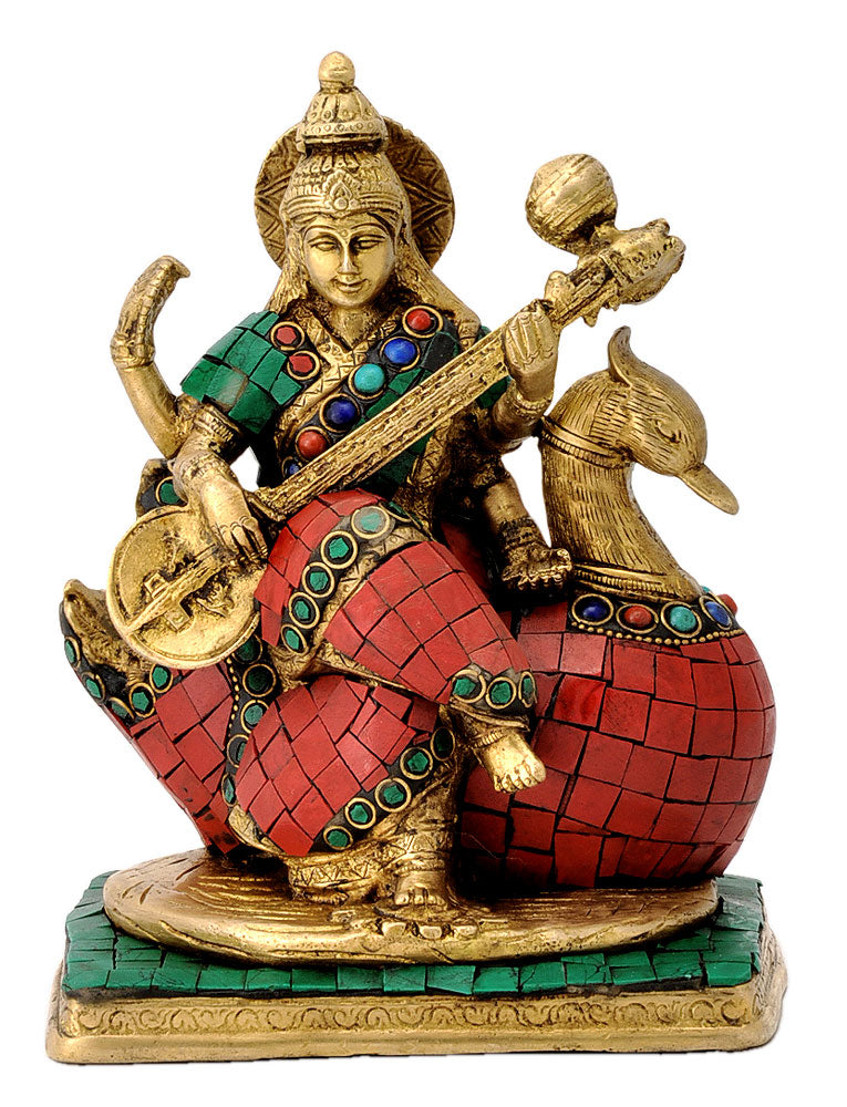 Devi Saraswati Seated on Swan