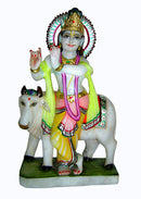 Krishna with Cow - Marble Sculpture 15""