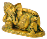 Resting Baby Ganpati Golden Finish Brass Figure