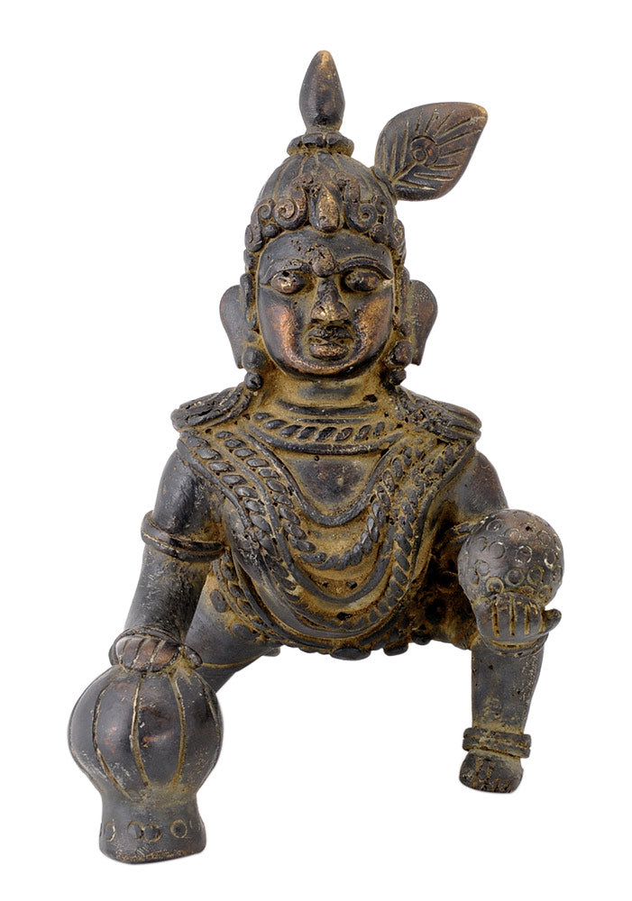 Baby Krishna as Ladoo Gopal Statue in Rustic Old Finish