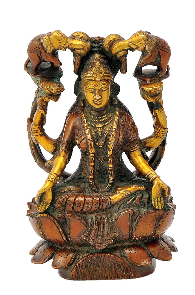 Brass Goddess Lakshmi Seated on Lotus 7.75""