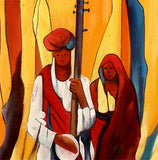 Folk Singers - Handmade Painting on Silk