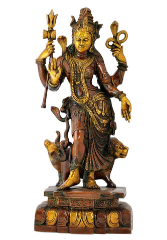 'Adhnarishwar' Shiva and Shakti Combined Form - Brass Statue 18""