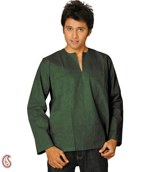 Short Kurta In Bottle Green