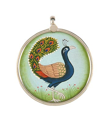 'Joyful Peacock' Handcrafted Pendant
