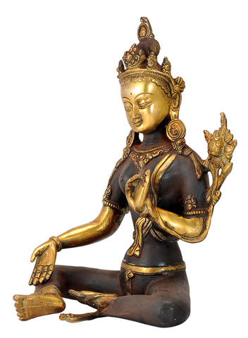 The Savior Goddess Green Tara Brass Sculpture 10""