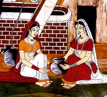 The Village Well - Indian Batik Painting
