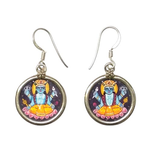 Lord Shri Hari Vishnu Painted Earrings
