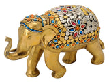 Decorative Brass Elephant with Bead Work