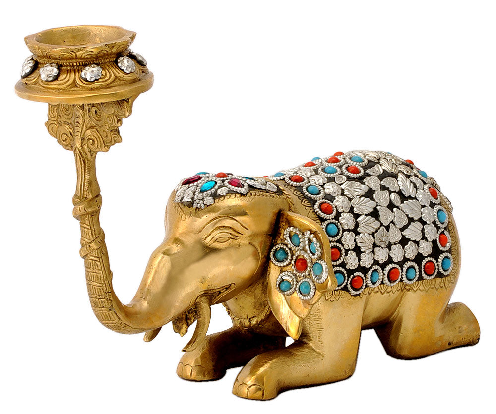 Brass Elephant Candle Holder