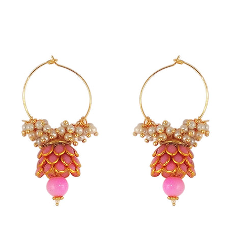 Traditional Indian Style Bali Jhumki Earrings Pink for Womens