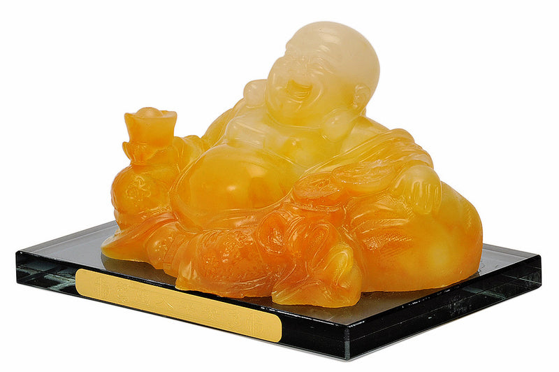 Seated Laughing Buddha Resin Statue