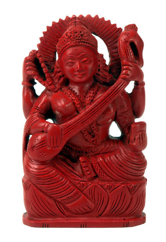 Mother Goddess Saraswati - Artificial Coral Statuette