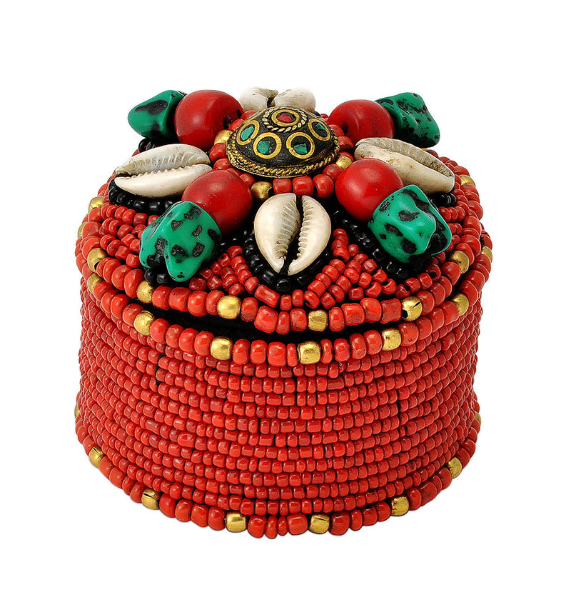 Handcrafted Vibrant Cowrie Shell Beaded Box