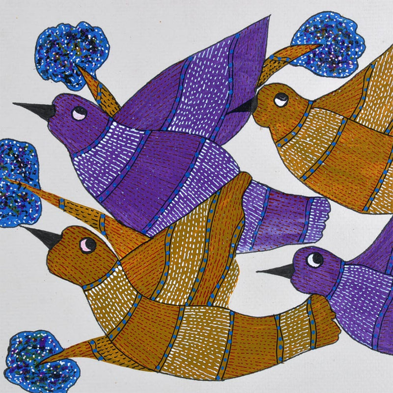 Flying  Birds - Folk Art Gond Panting