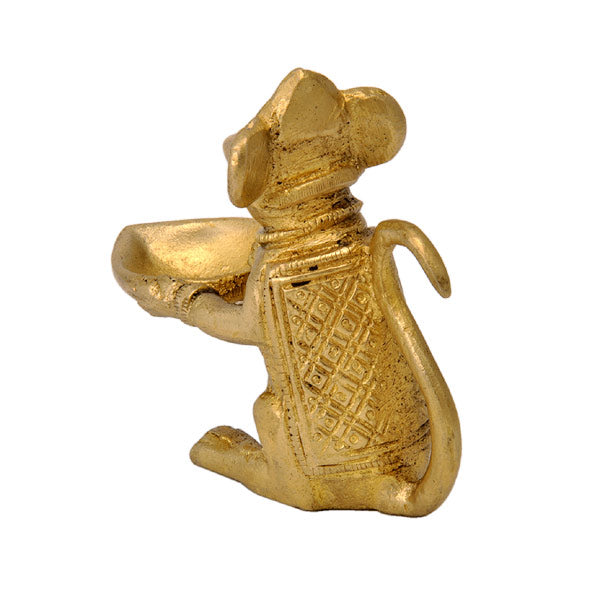 Mouse Brass Lamp Figurine