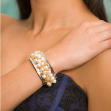 Load image into Gallery viewer, Ocean Wave Two-Tone Pearl Cuff