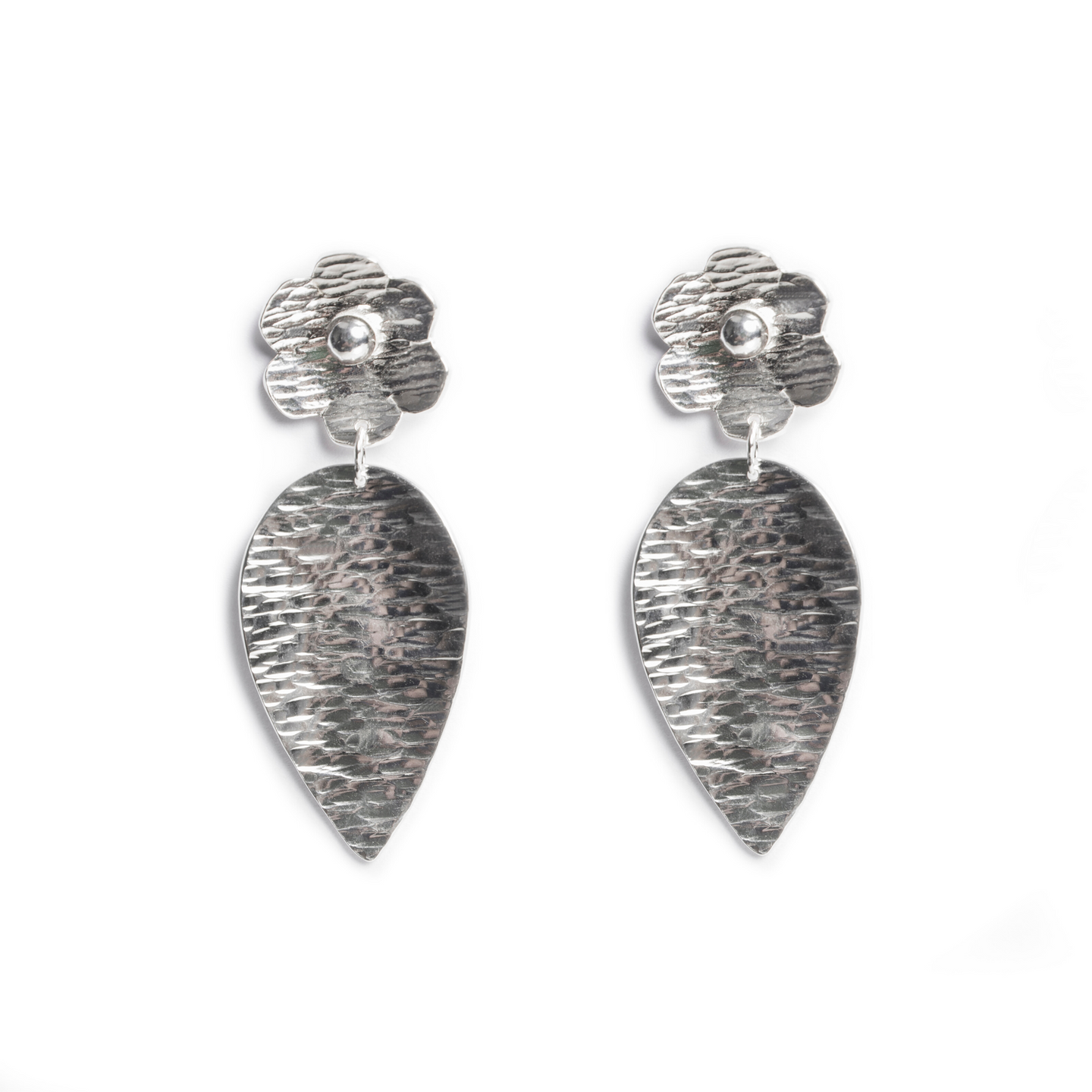 Sterling Silver Flower and Leaf Earring