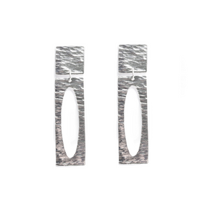 Sterling Silver Ocean Wave Elongated Earring