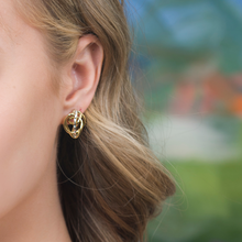 Load image into Gallery viewer, 18 Kt Gold and Sterling Silver Accent Endless Love Earring