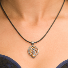 Load image into Gallery viewer, Oxidized Sterling Silver with 18kt Gold Endless Love Pendant