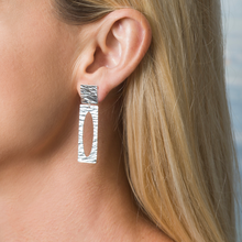 Load image into Gallery viewer, Sterling Silver Ocean Wave Elongated Earring