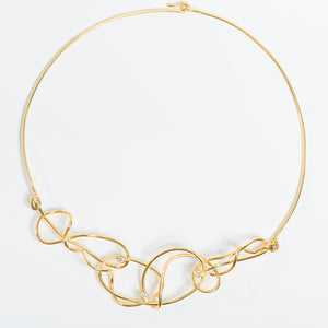 Contemporary 18kt gold and Diamond Necklace | Nikki Sedacca Art Jewelry